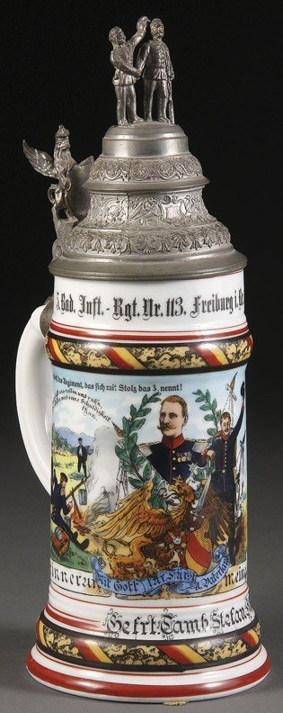 1061: AN IMPERIAL GERMAN PORCELAIN LITHOPHANE BEER
