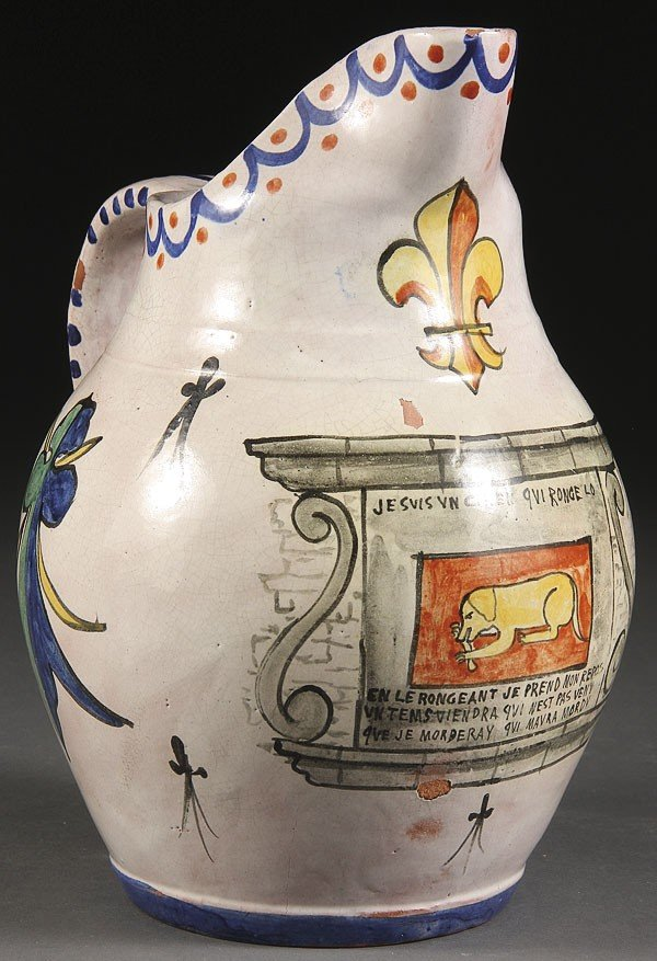 1064: A FRENCH HAND PAINTED FAIENCE JUG
