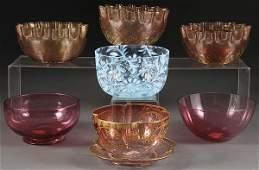 1087: SEVEN VICTORIAN ART GLASS FINGER BOWLS