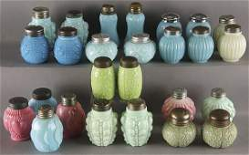 1105: 13 PAIRS OF VICTORIAN OPAQUE GLASS SHAKERS