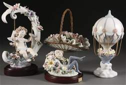 1164: FOUR LLADRO FANTASY AND FLOWER BASKET COLLECTIBLE