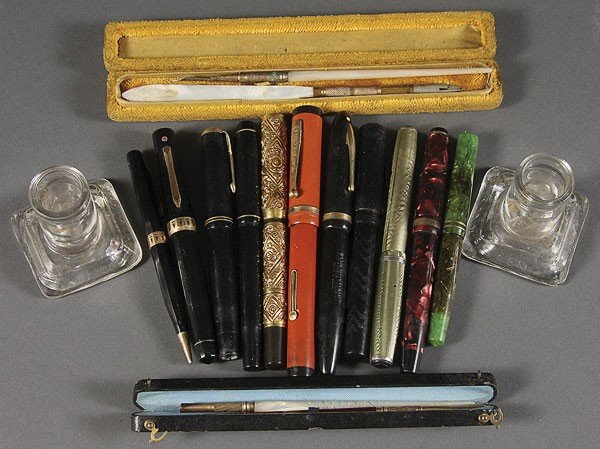 1271: A 15 PIECE GROUP OF FOUNTAIN PENS AND INK WELLS,