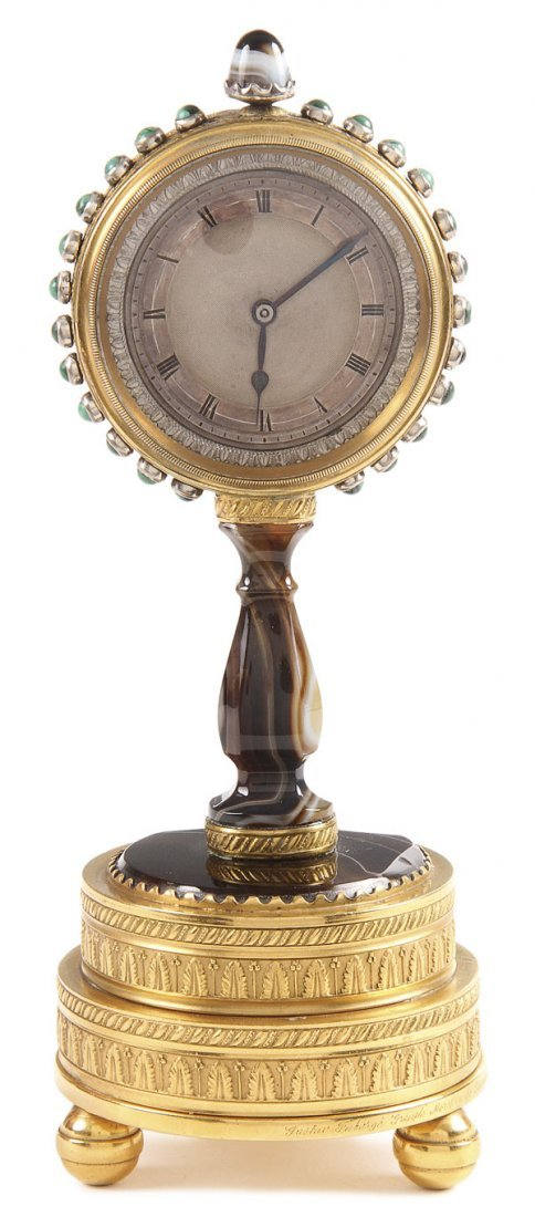 4: RUSSIAN FABERGE INSCRIBED CLOCK, C.1870