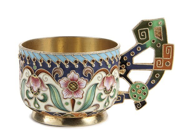 9: RUSSIAN SILVER & SHADED ENAMEL CUP, RUCKERT