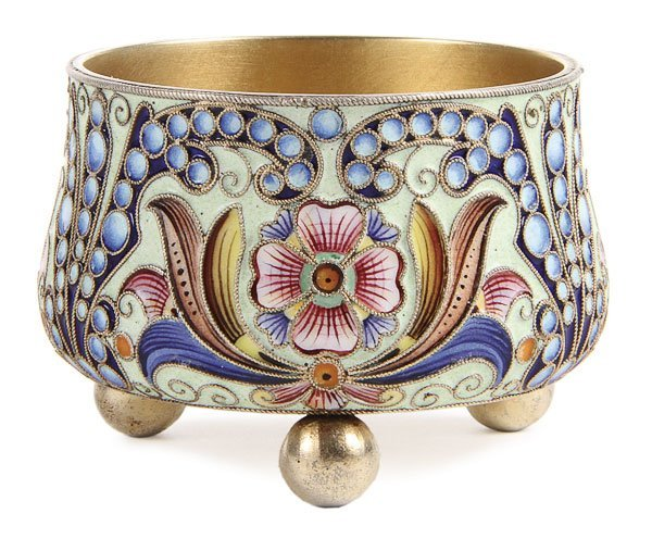 11: RUSSIAN SILVER & ENAMEL SALT BOWL, RUCKERT