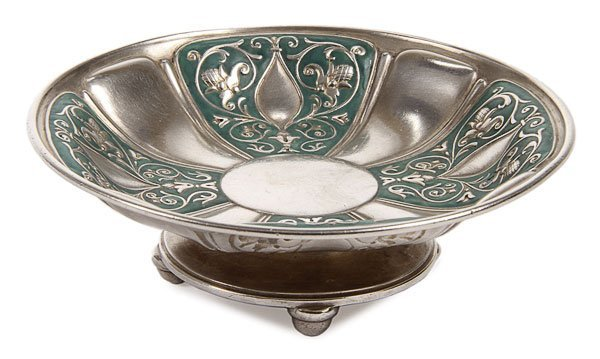 12: FABERGE SILVER AND ENAMEL TAZZA