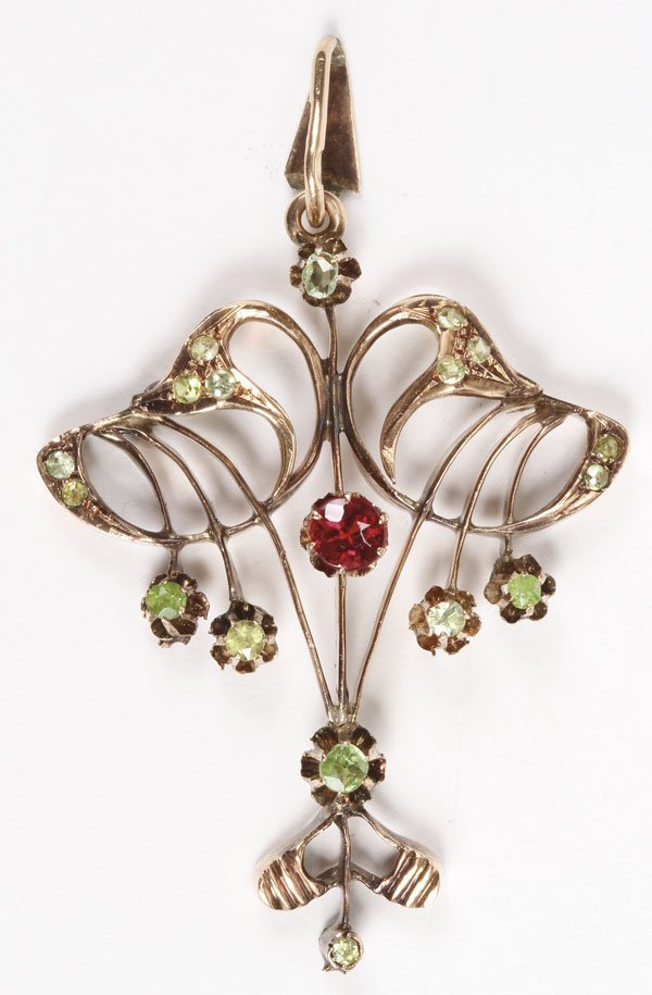 22: RUSSIAN GOLD RUBY DEMANTOID GARNET PENDANT