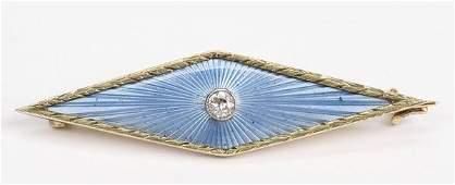 24 GOLD FABERGE GUILLOCHE ENAMEL  DIAMOND BROOCH