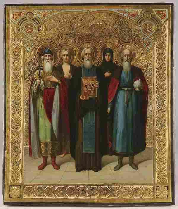 RUSSIAN ICON SELECTED SAINTS, CIRCA 1890