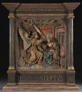 IMPRESSIVE CARVED ITALIAN  WOOD PLAQUE 17TH C.