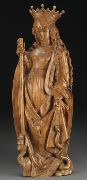 GOTHIC STYLE CARVED WOOD FIGURE OF ST. MARGARET