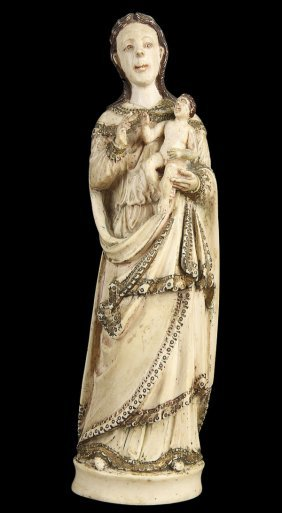 INDO-PORTUGUESE FIGURE OF THE VIRGIN AND CHILD