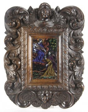 LIMOGES ENAMELED PLAQUE IN CARVED FRAME18TH C