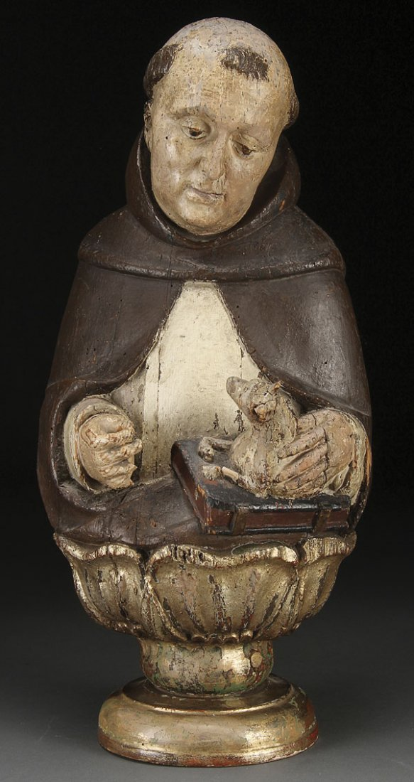 143: CARVED WOOD FIGURE ST. THOMAS  AQUINAS, 17TH C.