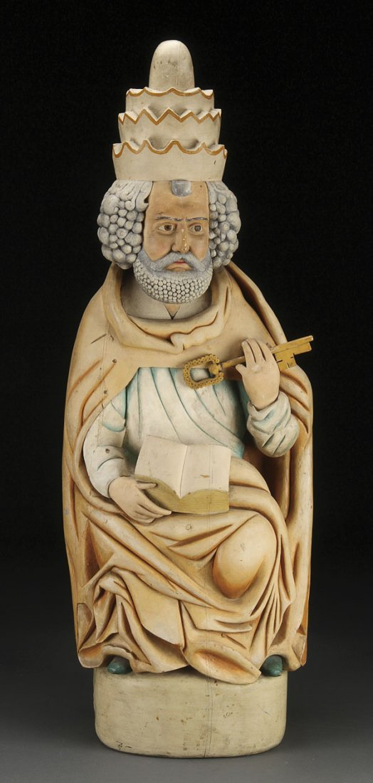 148: CARVED FIGURE OF ST. PETER, 18TH CENTURY