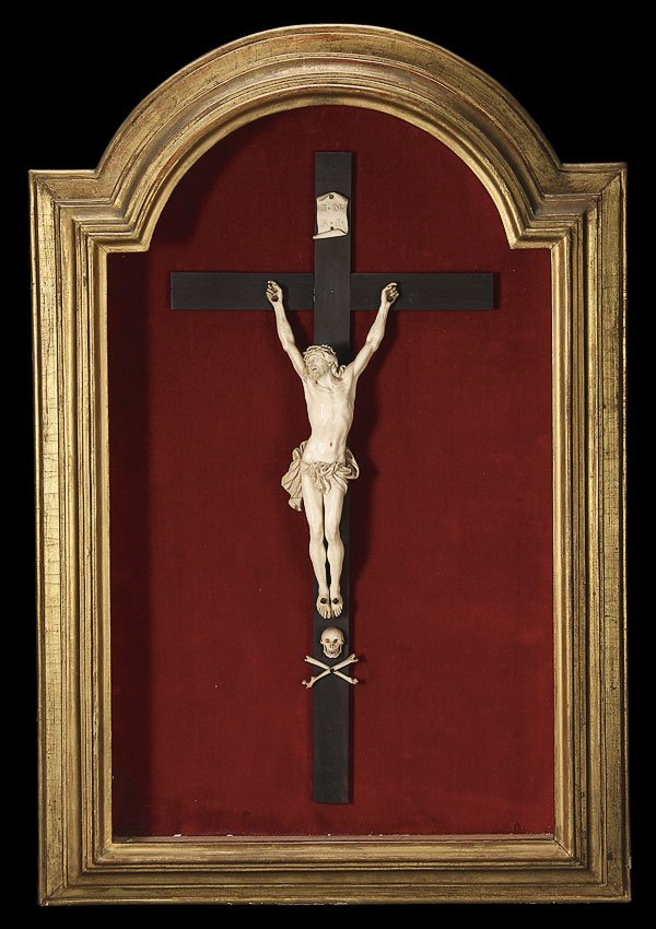 153: EXCEPTIONAL CARVED IVORY CORPUS, FRENCH, 18TH C.