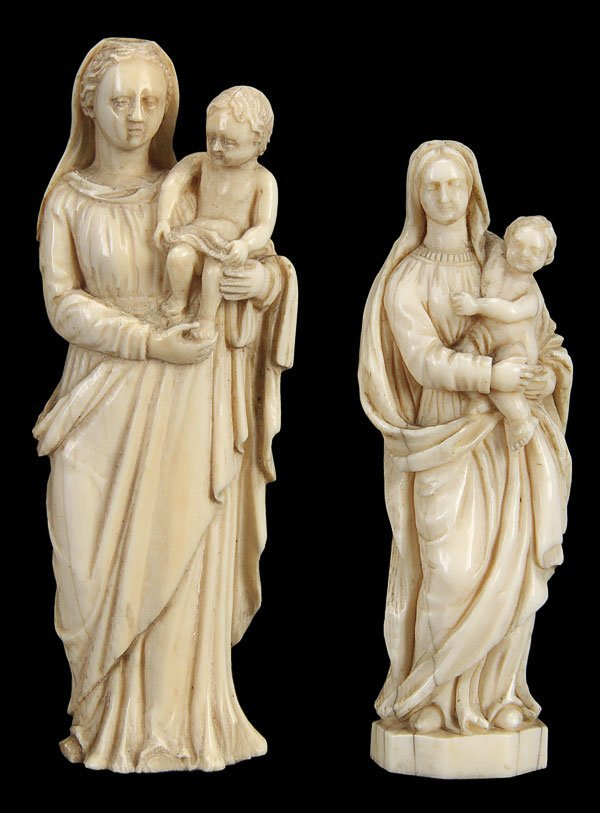 154: CARVED IVORY FIGURES OF THE VIRGIN & CHILD