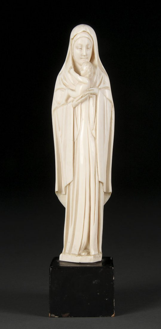 158: CARVED IVORY FIGURE OF VIRGIN & CHILD, FRENCH