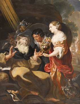 OLD MASTER PAINTING TEMPTATION OF ST. ANTHONY