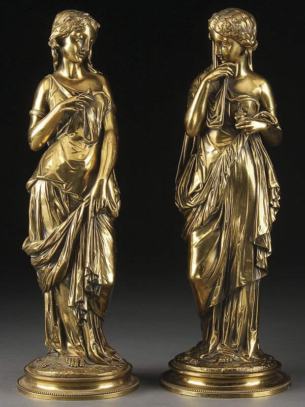 220: PAIR OF FRENCH 19TH C. GILT BRONZE FIGURES