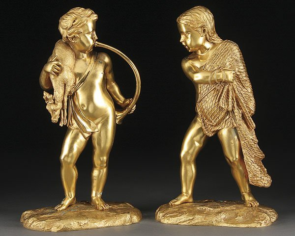 230: PAIR OF FRENCH GILT BRONZE FIGURES, 19TH CENTURY