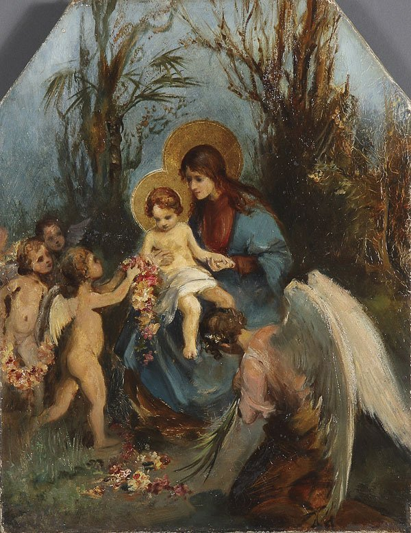 235:  MADONNA & CHILD WITH ANGELS PAINTING, 19TH C.