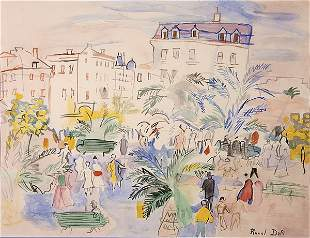 247: RAOUL DUFY, WATERCOLOR, IN THE PARK