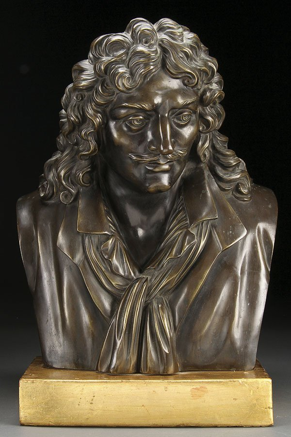 255: FRENCH BRONZE OF MOLIERE, 19TH CENTURY