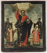 441: RUSSIAN ICON OF CHRIST W/SELECTED SAINTS, 18TH C