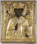 455: RUSSIAN ICON-ST NICHOLAS, 18TH C