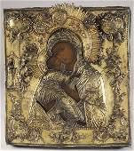 456: RUSSIAN ICON-VLADIMIR MOTHER OF GOD, 18TH C