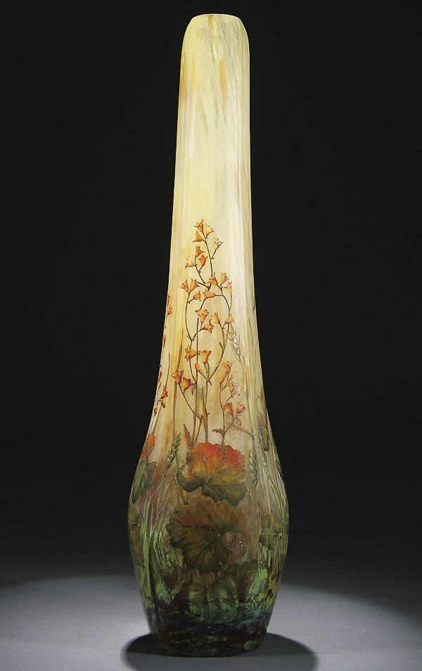 538: DAUM NANCY FRENCH ENAMEL CAMEO ART GLASS  VASE