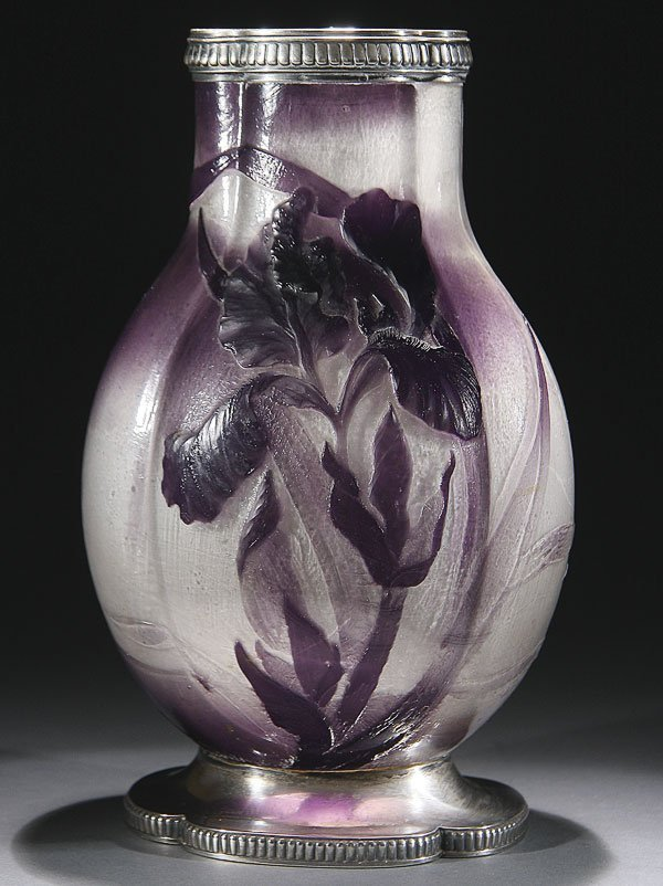 540: EMILE GALLE FRENCH CAMEO & SILVER ART GLASS VASE