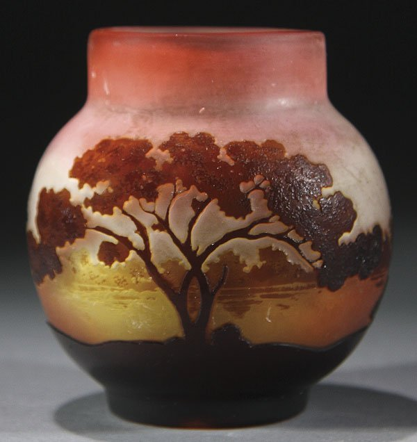 544: GALLE FRENCH CAMEO ART GLASS SCENIC VASE