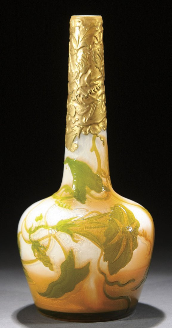 547: MULLER & CO FRENCH CAMEO ART GLASS VASE 1910