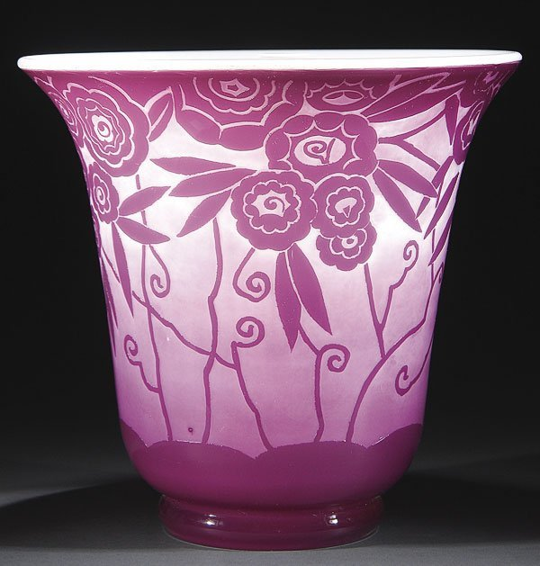 560: CRISTALLERIES  NANCY FRENCH DECO CAMEO GLASS VASE