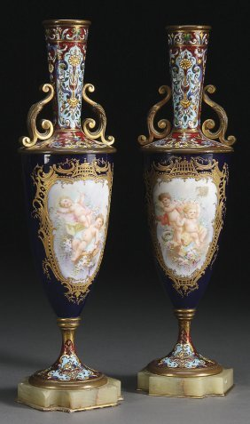 FRENCH CHAMPLEV� & SEVRES STYLE BRONZE VASES