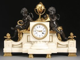 LARGE LOUIS XVI GILT BRONZE CHERUBS CLOCK MOREAU