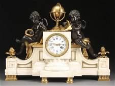 586 LARGE LOUIS XVI GILT BRONZE CHERUBS CLOCK MOREAU