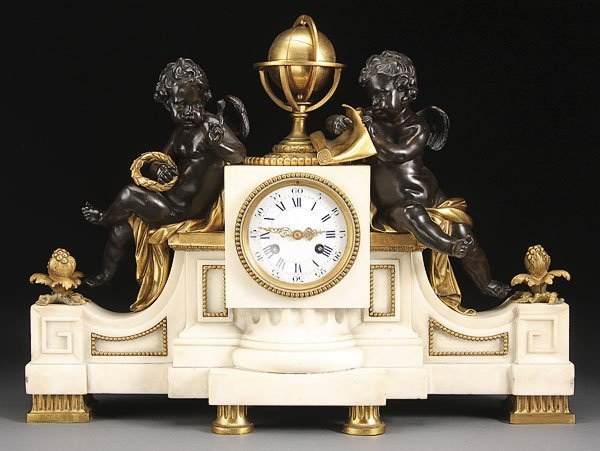 586: LARGE LOUIS XVI GILT BRONZE CHERUBS CLOCK MOREAU