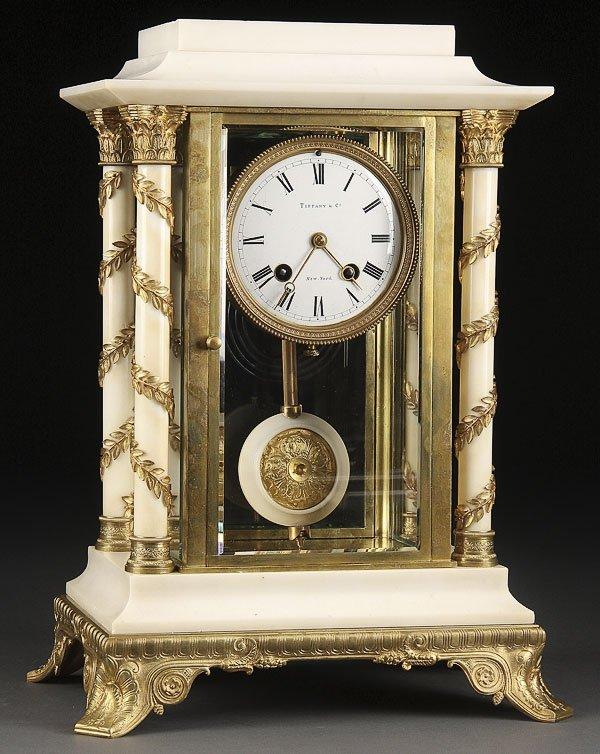 589: TIFFANY BRONZE  MARBLE CRYSTAL REGULATOR CLOCK