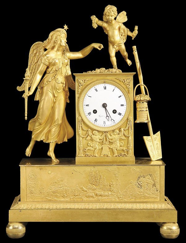 590: FRENCH EMPIRE GILT BRONZE FIGURAL MANTLE CLOCK