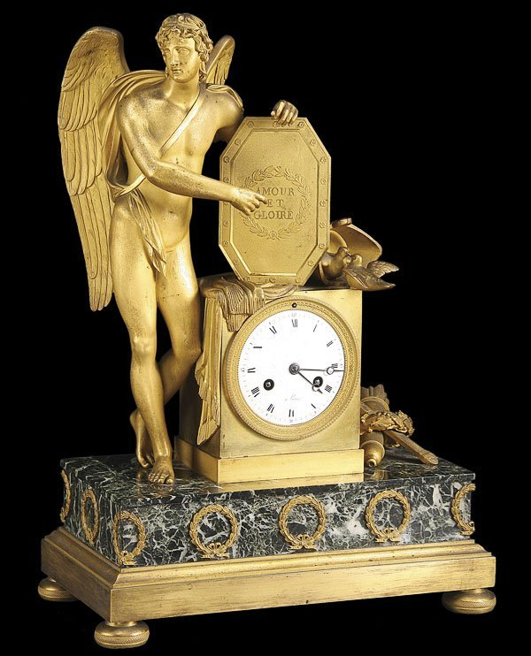 591: FRENCH EMPIRE GILT BRONZE & MARBLE CUPID CLOCK