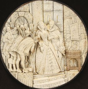 18TH CENTURY CARVED IVORY PLAQUE  QUEEN ELIZABETH