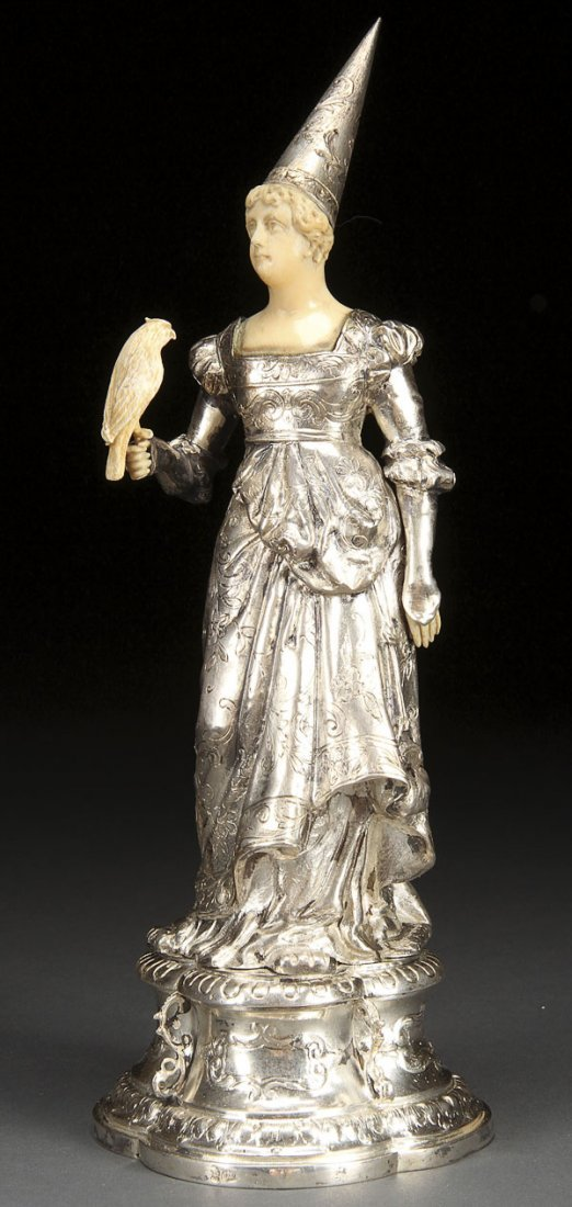 596:  RENAISSANCE STYLE  SILVER CARVED IVORY MAIDEN