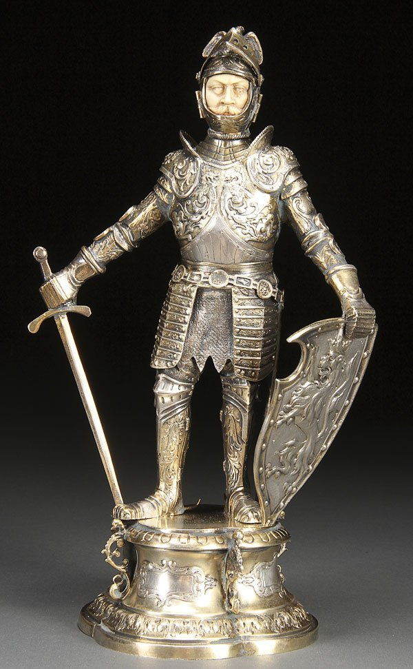 597:  SILVER & CARVED IVORY MEDIEVEL KNIGHT