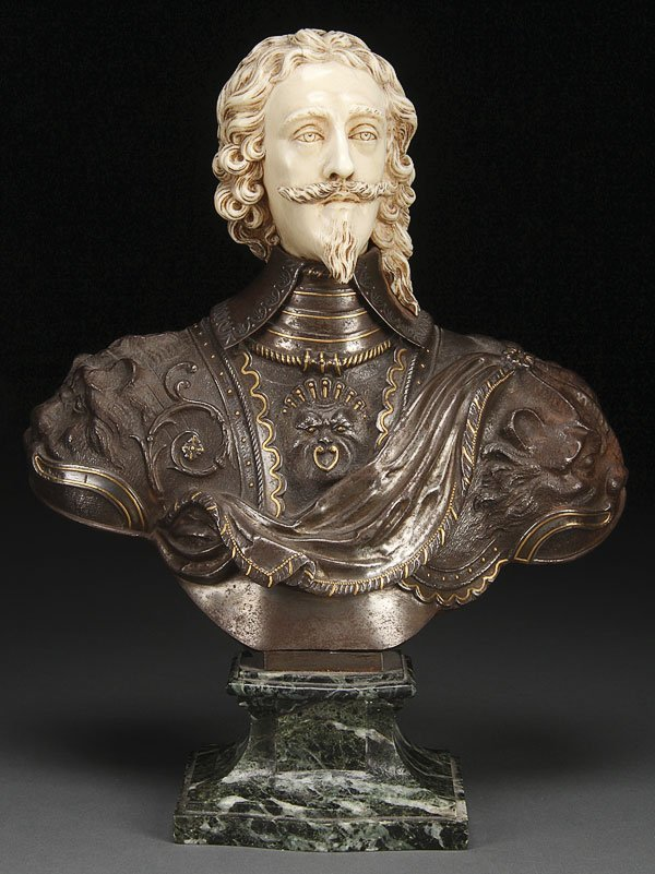 598: CARVED IVORY BUST OF KING CHARLES