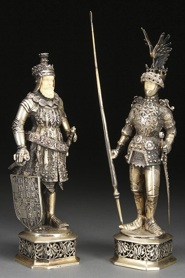 599: PAIR OF SILVER & CARVED IVORY AUSTRIAN KNIGHTS
