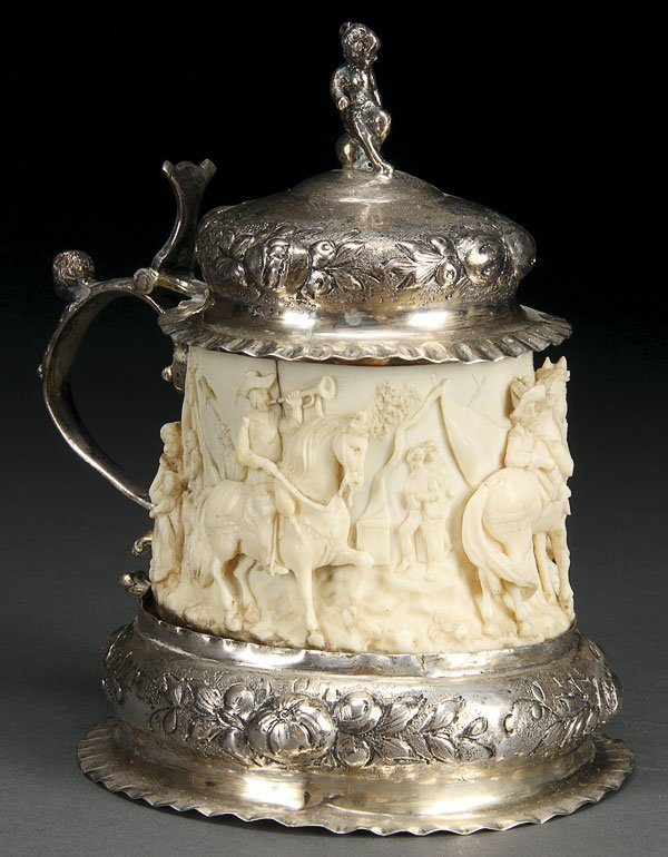 603: GERMAN IVORY & SILVER MOUNTED STEIN
