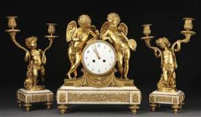 617 FRENCH LOUIS XVI GILT BRONZE CLOCK GARNITURE